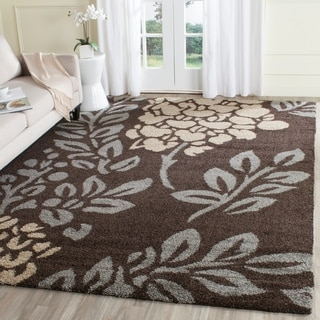 Safavieh Ultimate Shag Dark Brown/ Slate Grey Floral Area Rug (8' x 10')