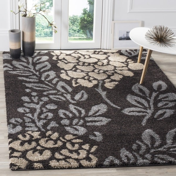 Safavieh Ultimate Shag Dark Brown/ Slate Grey Floral Area Rug (8' x 10')