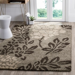Safavieh Ultimate Shag Smoke/ Dark Brown Floral Area Rug (5'3 x 7'6)