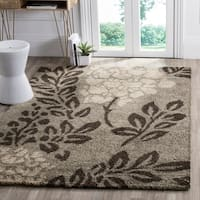 Safavieh Ultimate Shag Smoke/ Dark Brown Floral Area Rug - 5'3 x 7'6