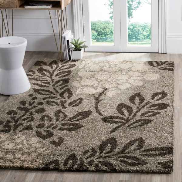 Safavieh Ultimate Shag Smoke/ Dark Brown Floral Area Rug - 8' x 10'