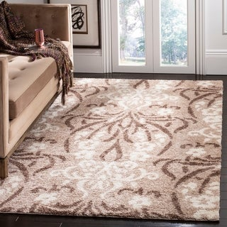 Safavieh Florida Shag Beige/ Cream Damask Area Rug (4' x 6')