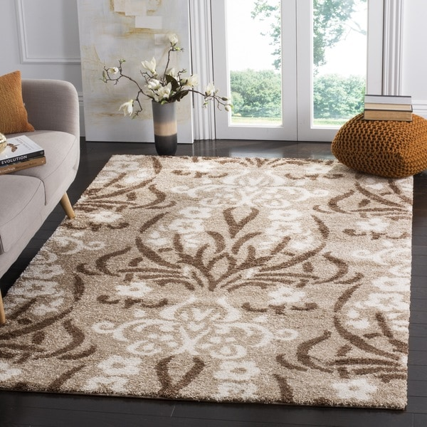 Safavieh Florida Shag Beige/ Cream Damask Area Rug (5'3 x 7'6)