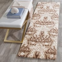 Safavieh Florida Shag Smoke/ Beige Damask Area Rug - 8' x 10'