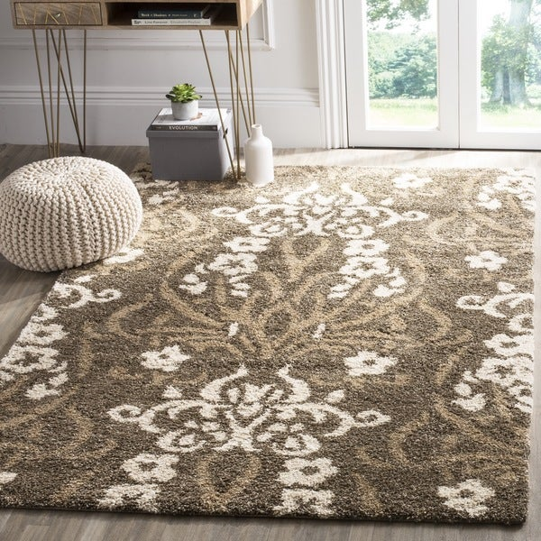 Safavieh Florida Shag Smoke/ Beige Damask Area Rug (8' x 10')