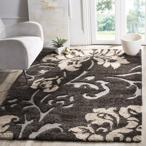 Safavieh Florida Shag Dark Brown Smoke Floral Area Rug