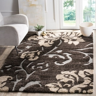 Safavieh Florida Shag Dark Brown/ Smoke Floral Area Rug (5'3 x 7'6)