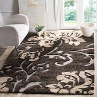 Safavieh Florida Shag Dark Brown/ Smoke Floral Area Rug (5'3 x 7'6)