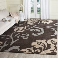 Safavieh Florida Shag Dark Brown/ Smoke Floral Area Rug (8' x 10')