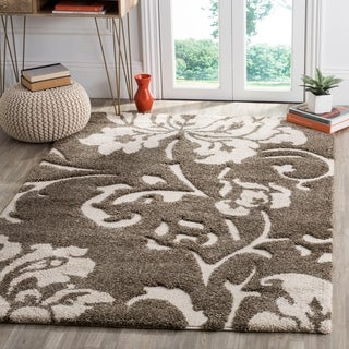 Safavieh Florida Shag Dark Grey/ Beige Floral Area Rug (8' x 10')