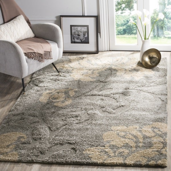 Safavieh Florida Shag Dark Grey Beige Floral Area Rug 8