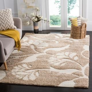 Safavieh Florida Shag Beige/ Cream Floral Area Rug (5'3 x 7'6)
