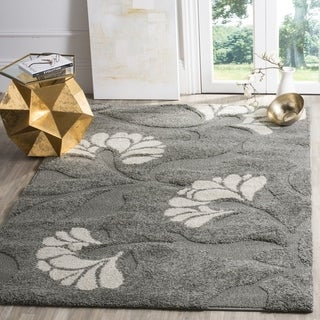 Safavieh Florida Shag Dark Grey/Beige Floral Area Rug (4' x 6')