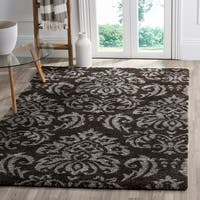 "Safavieh Florida Shag Dark Brown/ Smoke Damask Area Rug - 5'3"" x 7'6"""