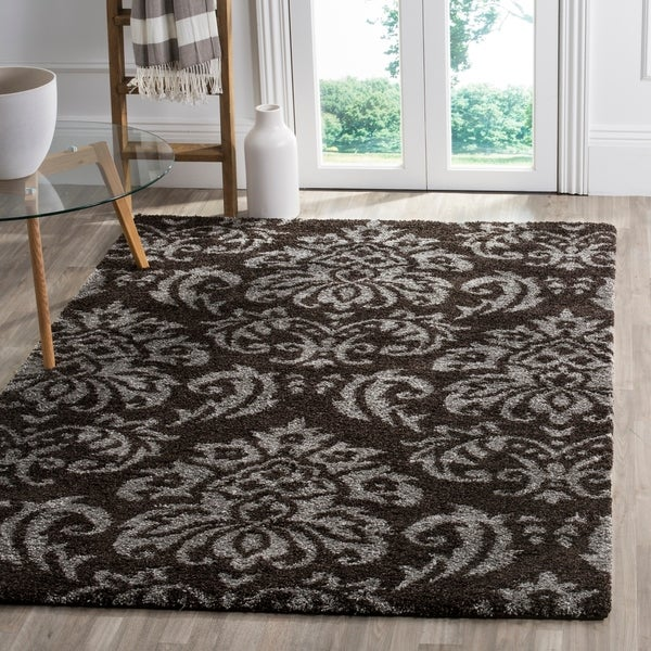 Shop Safavieh Florida Shag Dark Brown Smoke Damask Area