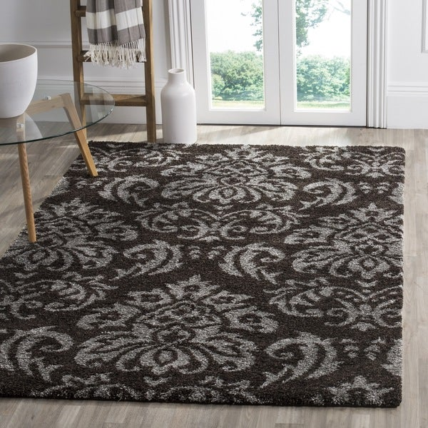Safavieh Florida Shag Dark Brown/ Smoke Damask Area Rug (5'3 x 7'6)