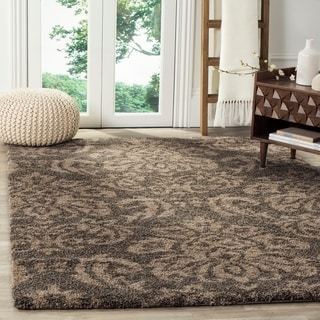 Safavieh Florida Shag Smoke/ Beige Damask Area Rug (5'3 x 7'6)