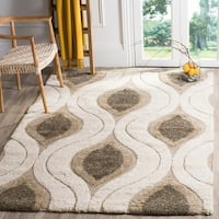 "Safavieh Florida Shag Cream/ Smoke Geometric Ogee Area Rug (5'3 x 7'6) - 5'3"" x 7'6"""