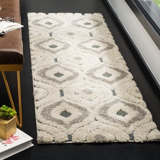 Safavieh Florida Shag Cream/ Smoke Geometric Ogee Area Rug (8' x 10')