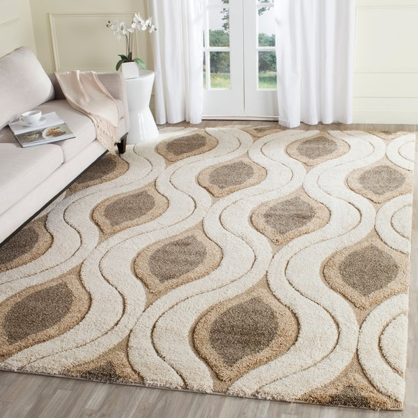 Safavieh Florida Shag Cream/ Smoke Geometric Ogee Area Rug - 8' x 10'