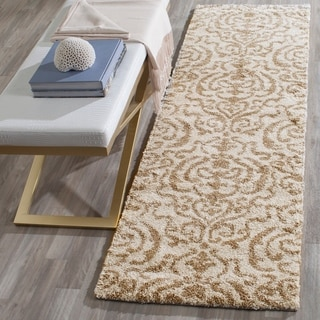 Safavieh Florida Shag Honey Ornate Damask Rug