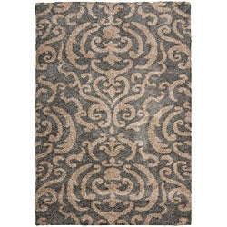 Safavieh Florida Shag Ornate Grey/ Beige Damask Area Rug (4' x 6')
