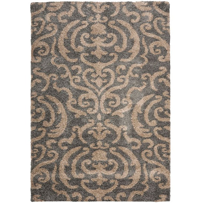 Safavieh Florida Shag Ornate Grey/ Beige Damask Area Rug (5'3 x 7'6)