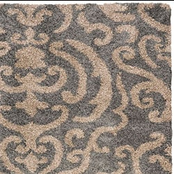 Safavieh Florida Shag Ornate Grey/ Beige Damask Area Rug (5'3 x 7'6) - Thumbnail 2