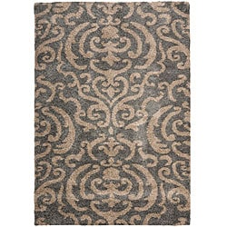 Safavieh Florida Shag Ornate Grey/ Beige Damask Area Rug - 8' x 10' - Thumbnail 0