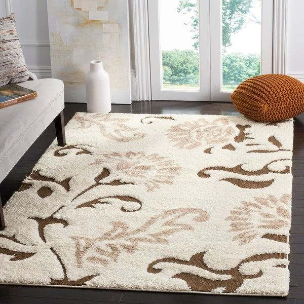 Safavieh Florida Shag Elegant Cream Dark Brown Area Rug