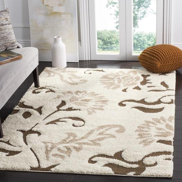 safavieh florida shag elegant cream/ dark brown area rug (5'3 x 7