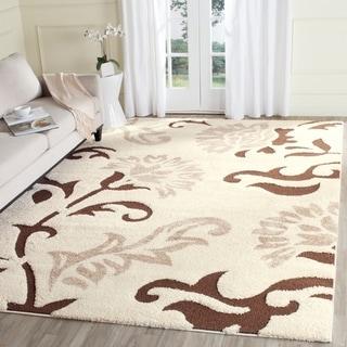Safavieh Florida Shag Elegant Cream/ Dark Brown Area Rug (8u0027 X 10u0027