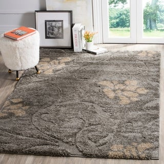 Safavieh Florida Shag Grey / Beige Area Rug (4' x 6')