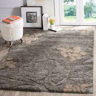 Safavieh Florida Shag Grey / Beige Area Rug (5'3 x 7'6)
