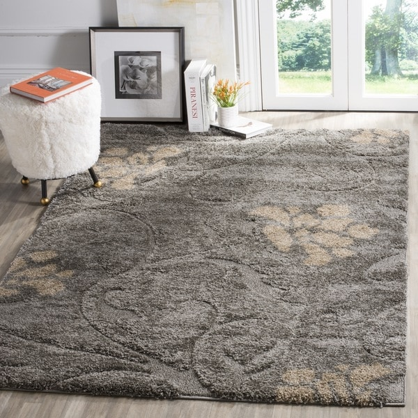 Safavieh Florida Shag Grey / Beige Area Rug - 8' x 10'