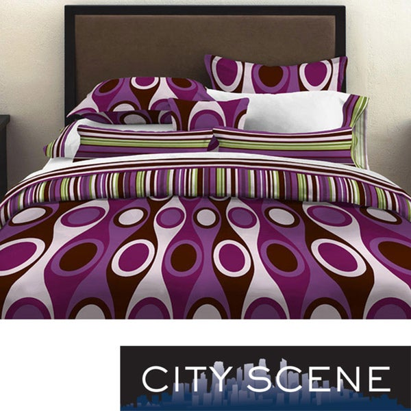 City Scene Retro Radar Purple King-size 3-piece Duvet Cover Set