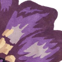 Safavieh Handmade Novelty Lilac Shaped Wool Rug (5' Round) - Thumbnail 1