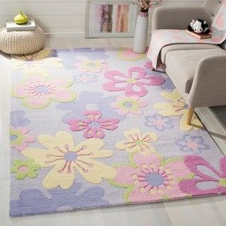 Safavieh Handmade Children's Daisies Violet New Zealand Wool Rug - 4' x 6'