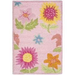 Safavieh Handmade Children's Paisley Sketch Pink N. Z. Wool Rug (2' x 3')