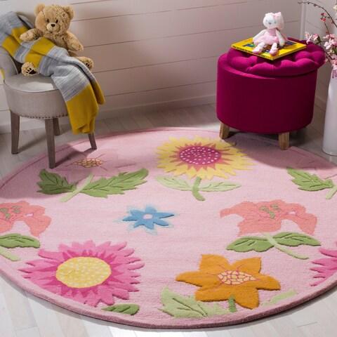 Safavieh Handmade Children's Paisley Sketch Pink N. Z. Wool Rug - 4' x 4' Round