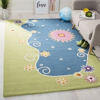 Safavieh Handmade Children's Lily Pond Blue New Zealand Wool Rug (2' x 3')