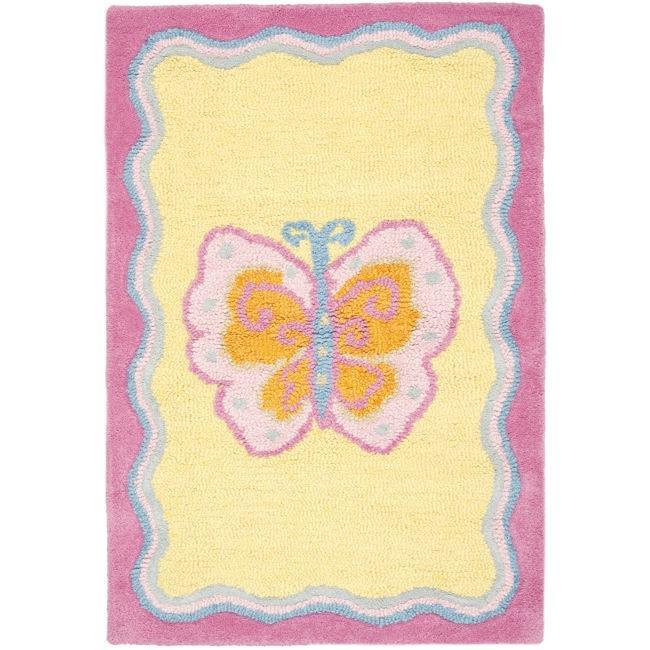 Safavieh Handmade Children's Butterfly Yellow N. Z. Wool ...