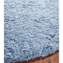 Safavieh Classic Ultra Handmade Light Blue Shag Rug (6' Round) - Thumbnail 1