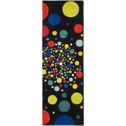 Safavieh Handmade Soho Space Modern Abstract Black Wool Runner Rug (2' 6 x 8')
