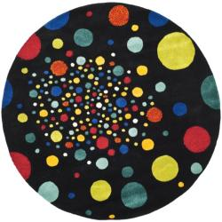 Safavieh Handmade Soho Space Modern Abstract Black Wool Rug - 6' x 6' Round - Thumbnail 0