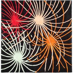 Safavieh Handmade Soho Fireworks Black New Zealand Wool Rug (6' Square)