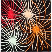 Safavieh Handmade Soho Fireworks Black New Zealand Wool Rug - 6' x 6' Square