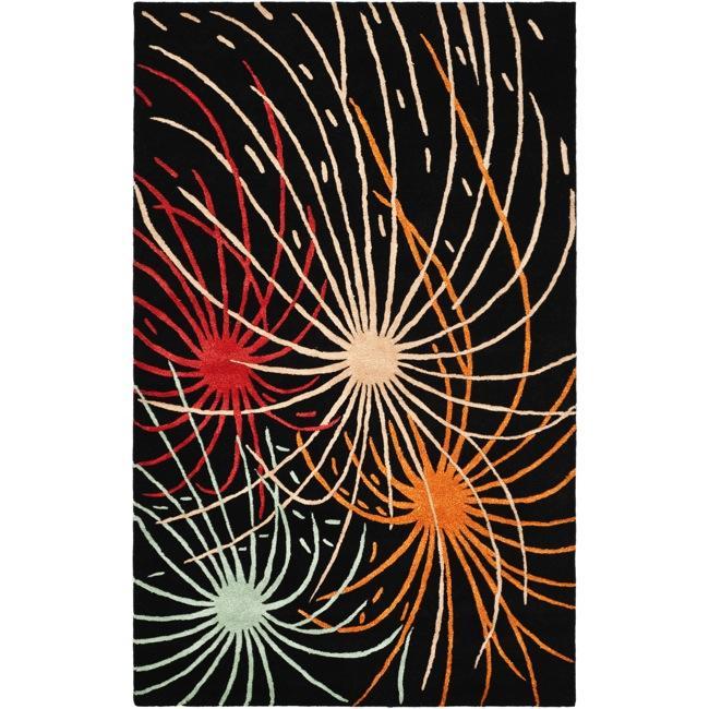 Safavieh Handmade Soho Fireworks Black New Zealand Wool Rug - 7'6 x 9'6