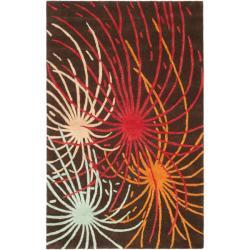 Safavieh Handmade Soho Fireworks Brown New Zealand Wool Rug - 7'6 x 9'6 - Thumbnail 0