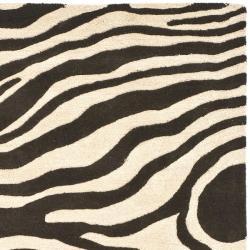 Safavieh Handmade Soho Zebra Print Black/ Ivory N. Z. Wool Rug (6' Square)